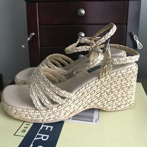 Bakers straw wedge sandals espadrilles